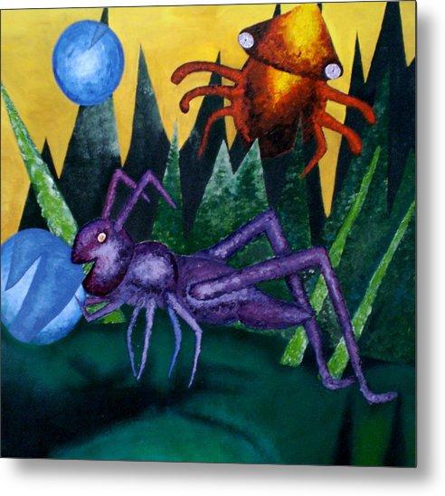 Bugs Metal Print featuring the painting Trippy Virgin by Kime Einhorn