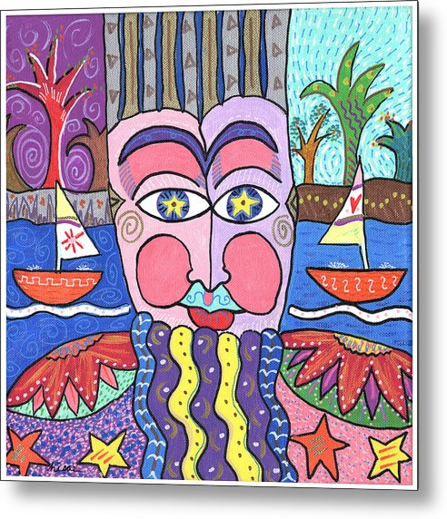 Whimsical Metal Print featuring the painting The Bearded Man by Sharon Nishihara