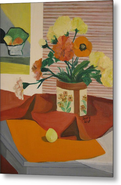 Impressionistic Red Yellow Orange Canvas Prints Still Life Fruit Flowers Red Yellow Metal Print featuring the painting Orange And Yellow Still Life by Beverly Trivane