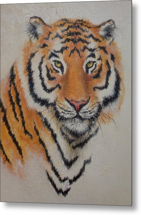 Tiger Metal Print featuring the painting Tiger Portrait by Joann Shular
