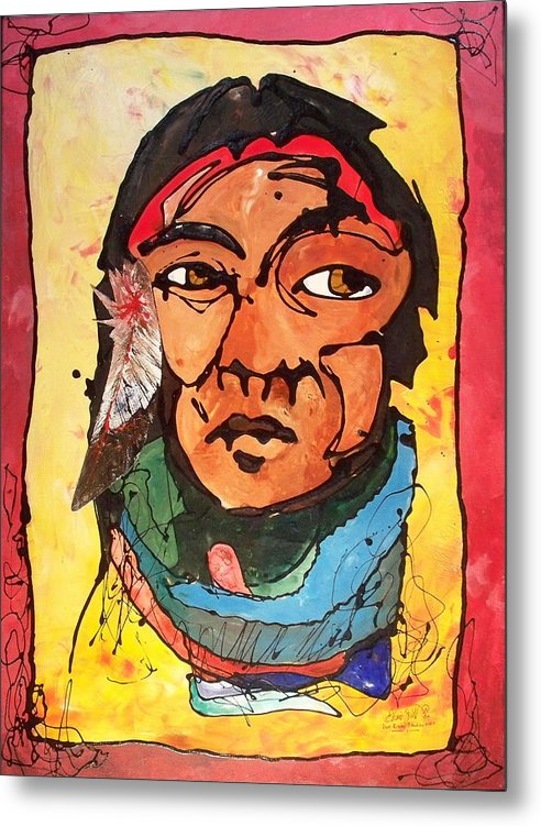 Native American Metal Print featuring the painting Two Of Two Of The Twins by Ernie Scott- Dust Rising Studios