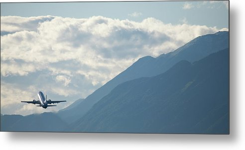 Plane Metal Print featuring the photograph Airplane Taking Off Over The Alpine Mountains by Ian Middleton