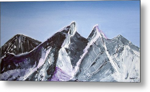 Acrylic Landscape Painting Metal Print featuring the painting Cerro De La Silla Of Monterrey Mexico by Kandyce Waltensperger