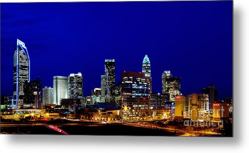Charlotte Nc Photography Metal Print featuring the photograph Charlotte Nc Skyline At Dusk by Patrick Schneider