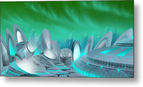 Science Fiction City Metal Print featuring the painting Cyan City by James Christopher Hill