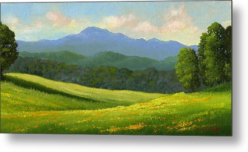 Landscape Metal Print featuring the painting Dandelion Meadows by Frank Wilson