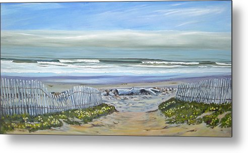 Seascape Metal Print featuring the painting Haskells Beach Morning by Jeffrey Campbell