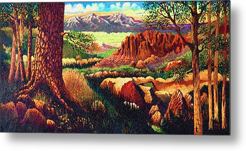 Fantasy Hobbits Rocks Trees Texas Metal Print featuring the painting Hobbit Land by Donn Kay