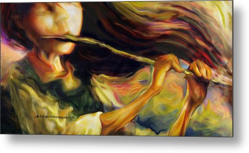 Girl Metal Print featuring the painting Into The Light by Mike Massengale