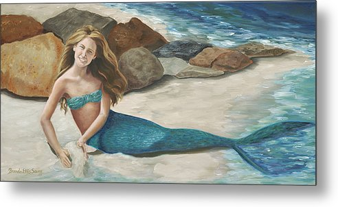 Mermaids Metal Print featuring the painting Krissy by Brenda Ellis Sauro