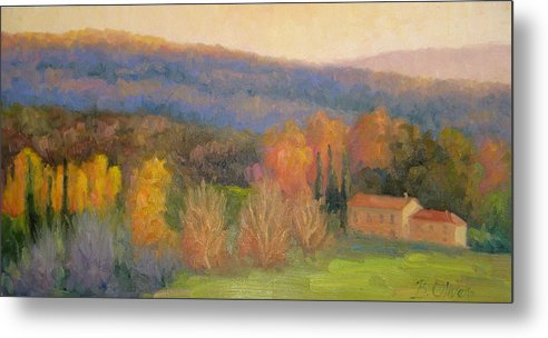 Tuscany Metal Print featuring the painting Lingering Light - Tuscany by Bunny Oliver