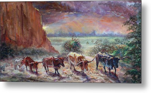 Cattle Metal Print featuring the painting Open Range by Tommy Winn