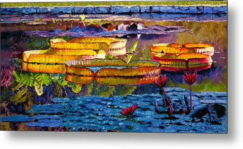 Water Lilies Metal Print featuring the painting Sun Color And Paint by John Lautermilch