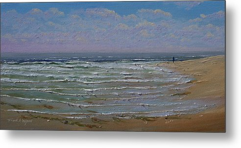 Seascape Metal Print featuring the painting The Beachcomber by Frank Wilson