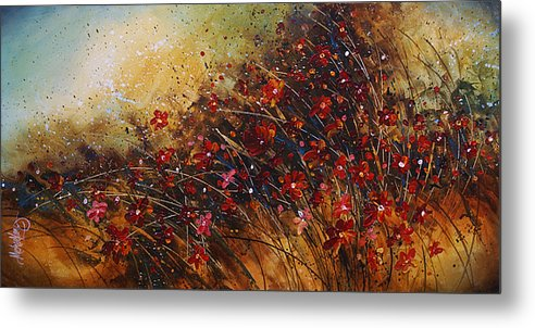 Red Flowers Metal Print featuring the painting Wild by Michael Lang