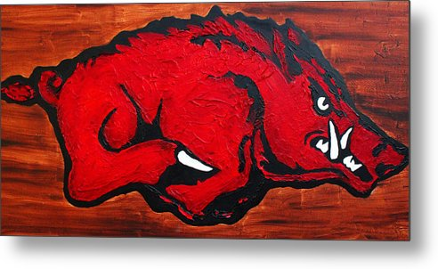 Arkansas Razorbacks Metal Print featuring the painting Woo Pig Sooie by Laura Grisham