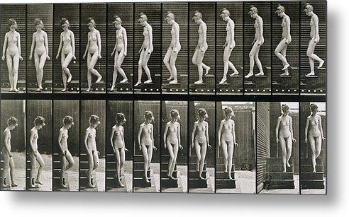 Woman Descending Steps Metal Print featuring the photograph Woman Descending Steps by Eadweard Muybridge
