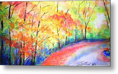 Autumn Metal Print featuring the painting Autumn Lane Iv by Lizzy Forrester