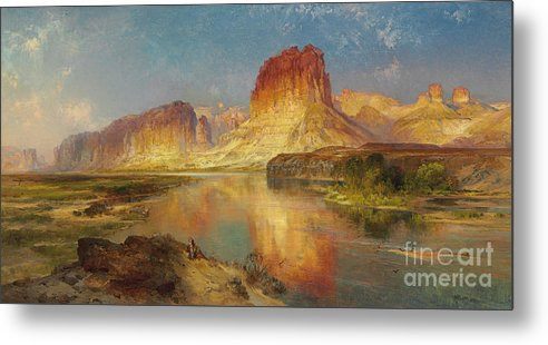 American Painting; American; Landscape; Castle Rock; Formation; Cliffs; Rocks; Reflection; Peaceful; Tranquil; Calm; Green River Of Wyoming Metal Print featuring the painting Green River Of Wyoming by Thomas Moran