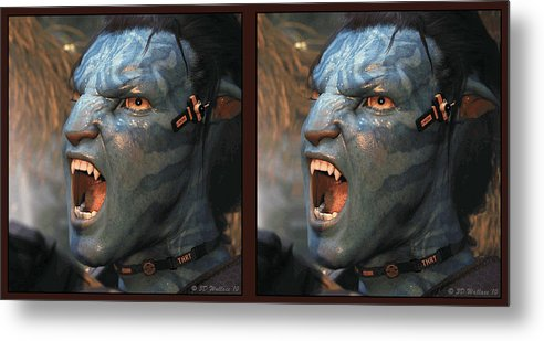 3d Metal Print featuring the photograph Jake Sully - Gently Cross Your Eyes And Focus On The Middle Image by Brian Wallace