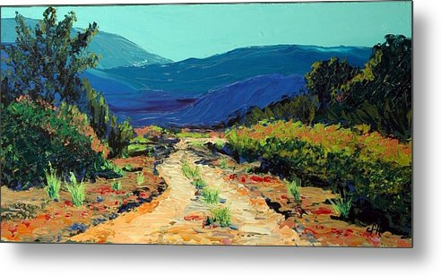 Landscape Metal Print featuring the painting Road Home by Cathy Fuchs-Holman