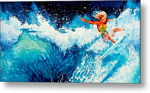 Sports Art Metal Print featuring the painting Surfer Girl by Hanne Lore Koehler