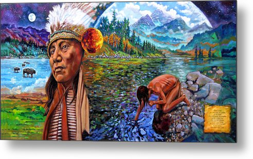 Indian Metal Print featuring the painting What Is Life by John Lautermilch