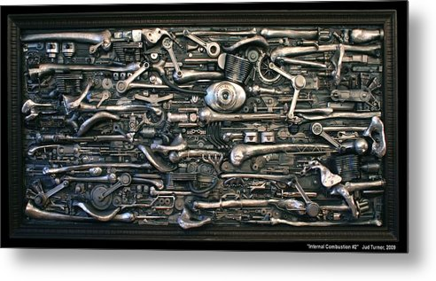 Sculpture Metal Print featuring the sculpture Internal Combustion 2 by Jud Turner