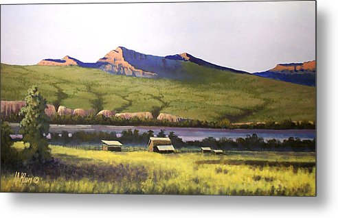 Landscape Metal Print featuring the painting Old Homestead by Dalas Klein