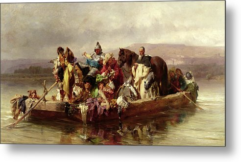The Metal Print featuring the painting The Ferry by Johann Till