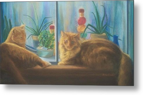 Cats Metal Print featuring the painting Cats In The Window by Diane Caudle