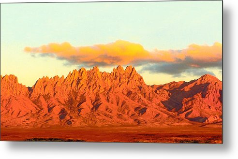 A Jack Pumphrey Photograph Of The Organ Mountains-desert Peaks National Monument Metal Print featuring the photograph Red Mountain Sunset Organs by Jack Pumphrey