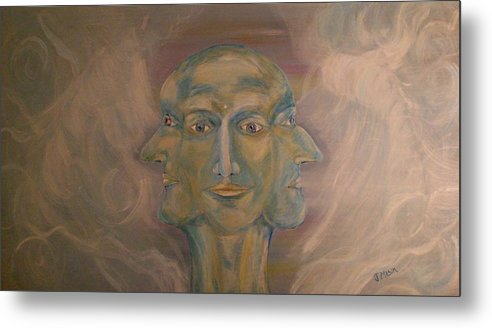 Face Metal Print featuring the painting Tripartite by Jessica Mason