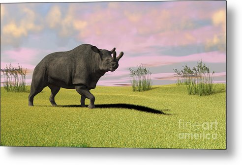 Three Dimensional Metal Print featuring the digital art Brontotherium Grazing In Prehistoric by Kostyantyn Ivanyshen