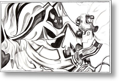 Bicycle Metal Print featuring the drawing Bicycle With Cloth by Maryn Crawford