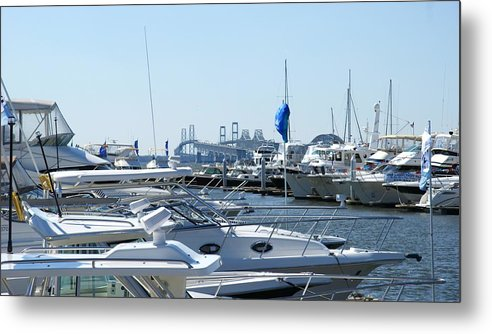 Chesapeake Bay Bridge Metal Print featuring the photograph Boat Show On The Bay by Charles Kraus