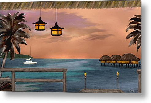 Contemporary Coastal Metal Print featuring the painting Days End by Gordon Beck