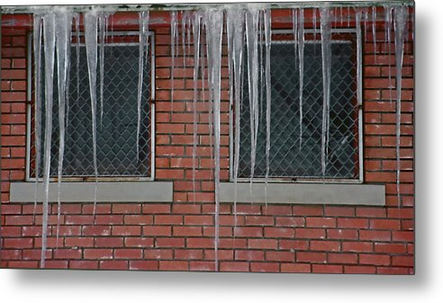 Ice Metal Print featuring the photograph Icicles 2 - In Front Of Windows Off Red Brick Bldg. by Steve Ohlsen