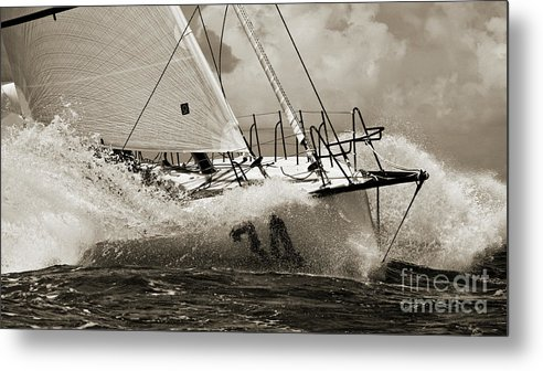 Sailboat Metal Print featuring the photograph Sailboat Le Pingouin Open 60 Sepia by Dustin K Ryan