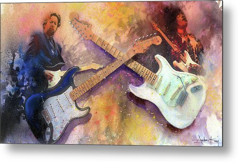 Eric Clapton Metal Print featuring the painting Strat Brothers by Andrew King