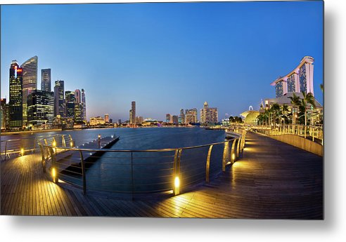 Cityscape Metal Print featuring the photograph Singapore - Marina Bay by Ng Hock How