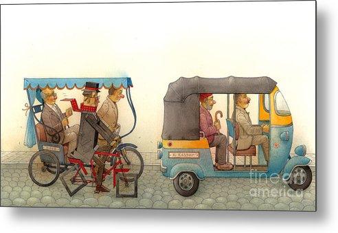 Tuk Tuk India Corner Angle Tovn Cars Bike Transport Street Metal Print featuring the drawing Angleman02 by Kestutis Kasparavicius