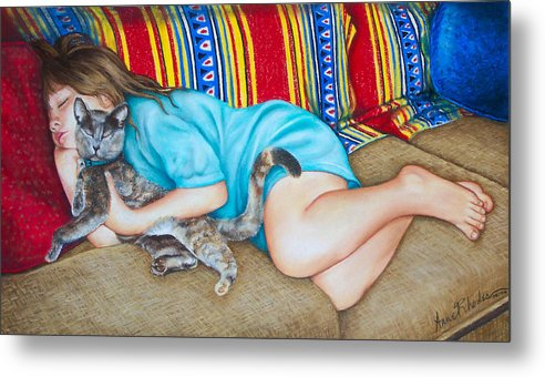 Portrait Metal Print featuring the painting Catnap by Anne Rhodes