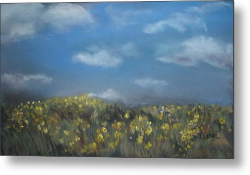 Landscape Metal Print featuring the painting Fields Of Gold by Cathy Weaver