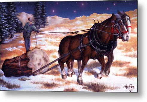 Horse Metal Print featuring the painting Horses Pulling Log by Curtiss Shaffer