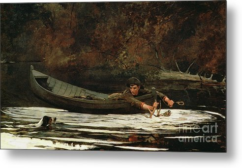 Hound And Hunter Metal Print featuring the painting Hound And Hunter by Winslow Homer