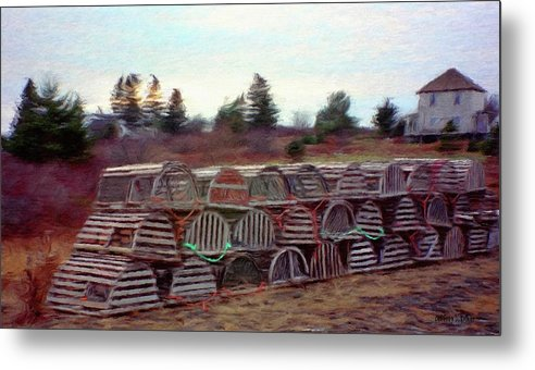 Nova Scotia Metal Print featuring the painting Lobster Traps by Jeff Kolker