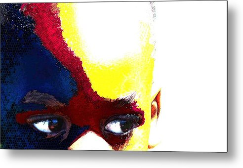 Metal Print featuring the photograph Painted Face 1 by LeeAnn Alexander