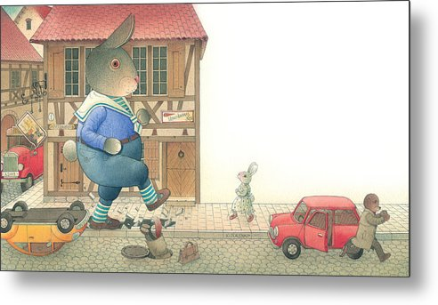 Street Town Rabbit Animal Red Car Accident Love Metal Print featuring the painting Rabbit Marcus The Great 19 by Kestutis Kasparavicius