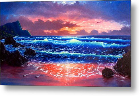 Sea Metal Print featuring the painting Sunset by Daniel Bergren